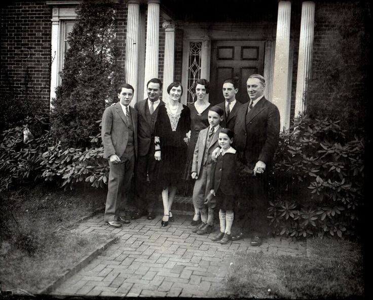 Glass Plate Negative #443 1929 James M Curley & Family at Jamaica Plain Home