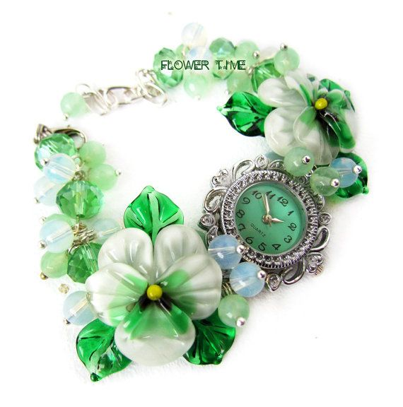 Woman quartz watch Floral wrist watch Lampwork by FlowerWatch