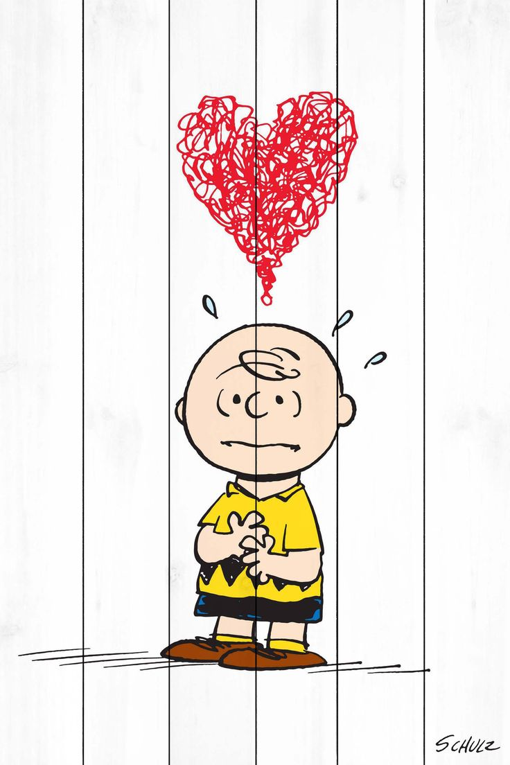 Description: Is he in love? Peanuts favorite, Charlie Brown is printed on white wood in this wall art. Scribbled above his head is a bright red heart. This piece makes a lovely addition to your Valent