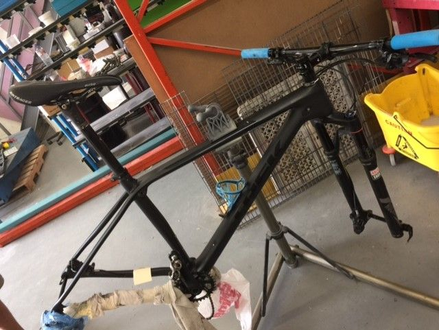 Cracked Seat Stay on this Trek MTB Frame was repaired, we paint matched the repaired area for a seamless professional finish