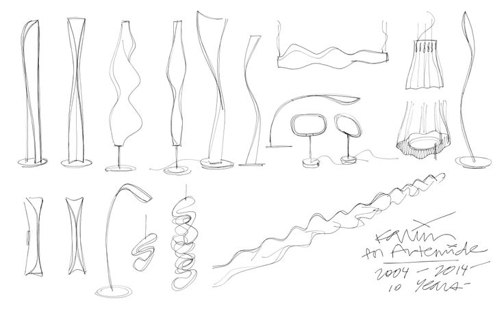 Sketches of Artemide lights by Karim Rashid http://on.fb.me/1uAvU5x