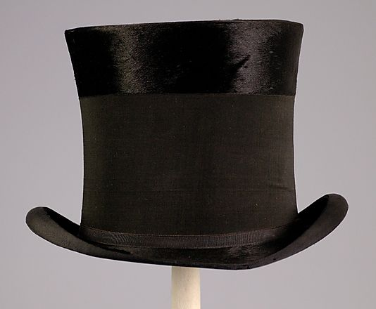 mourning top hat with black crepe band american 1890 antique and vintage clothing. Black Bedroom Furniture Sets. Home Design Ideas