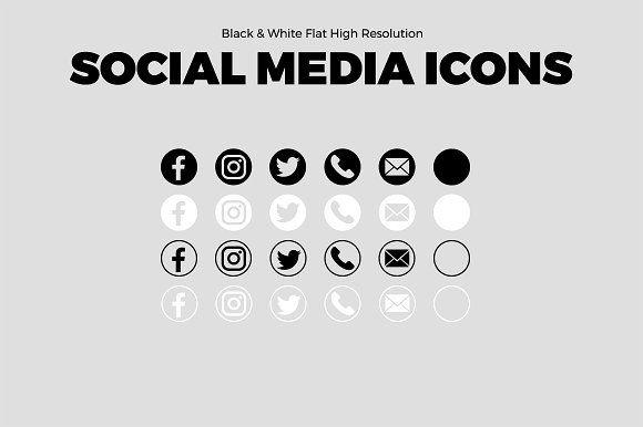 Sale 5 B W Social Media Icons Social Media Icons Media Icon Business Card Icons