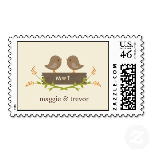 Sweet Love Custom Postage US Stamp with two little birds for wedding invitations or RSVP's customizable with your names and initials from http://www.zazzle.com/sweet_love_custom_postage_stamp-172935409079600711?rf=238505586582342524