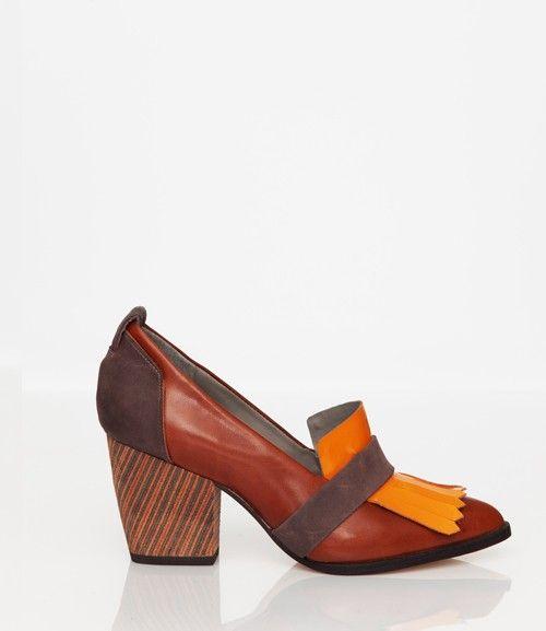 Skin by FINSK AW13: 466-01 RUST mid-heel tassel loafer from Skin By FINSK