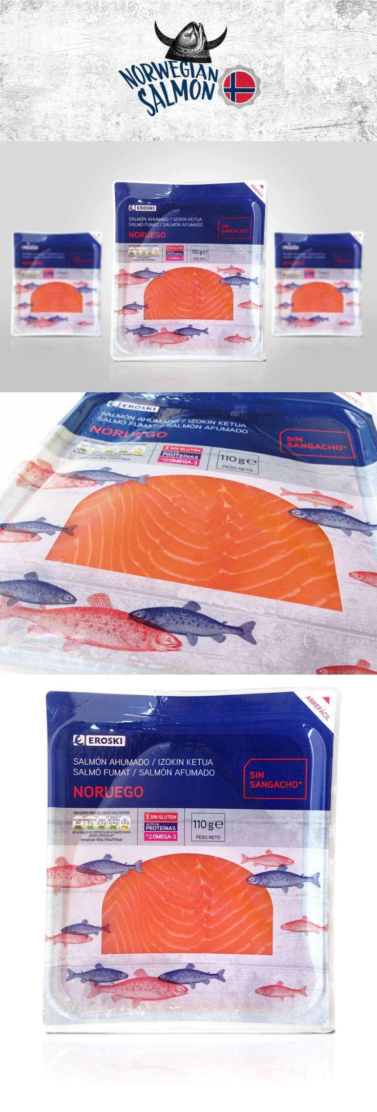 Diseño del packaging del salmón Eroski.  #design #diseño #graphicdesign #diseñográfico #salmon #packaging #eroski #layout #campaña #suscreativos #publicidadymarketing