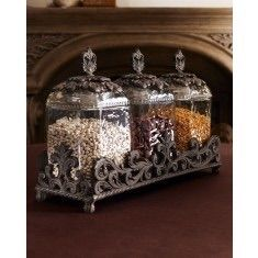 Gg Collection Provencial 3 Piece Gl Canister Set With Brown Metal Base Www Crownjewel