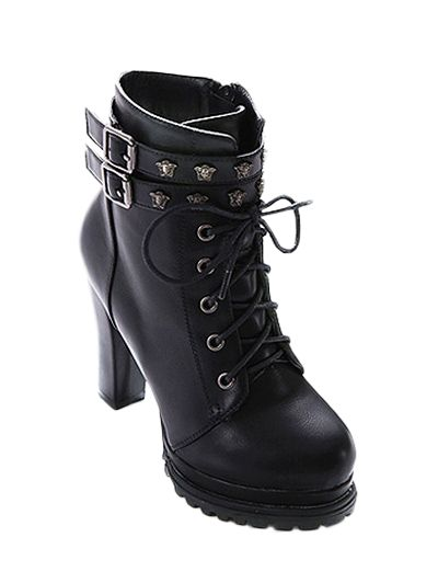 Lace-Up Metal Double Buckle Ankle Boots - BLACK 38