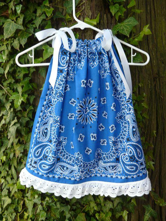 Royal Blue Bandana Dress/ Swing Top w/ eyelet by BandannaMommas, $22.00