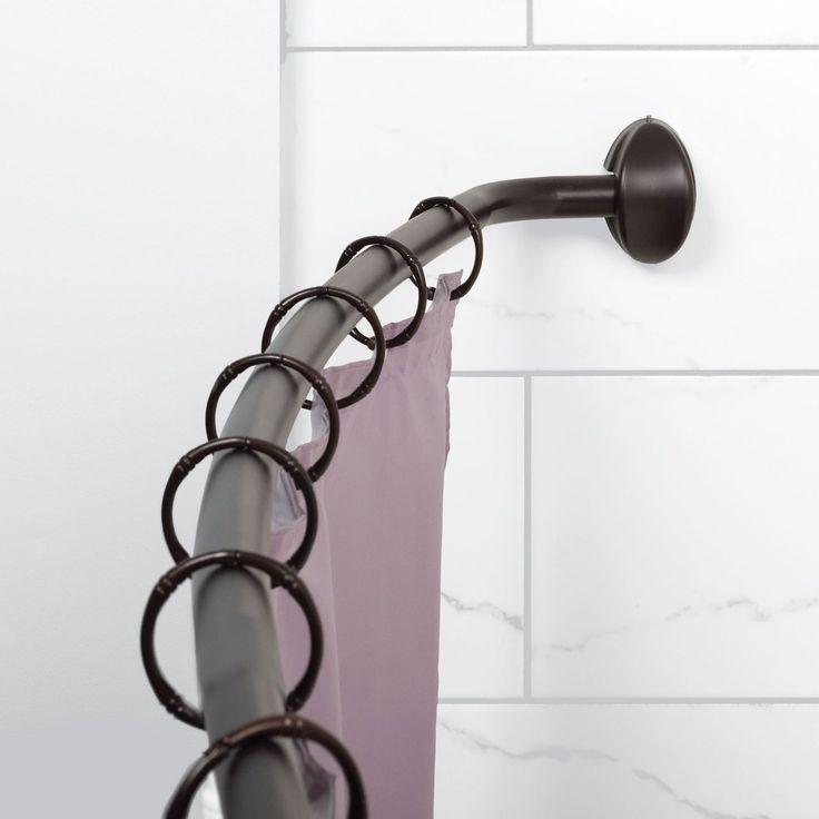 Zenna Home E35603 Single Curved Shower Rod Shower Curtain Rods
