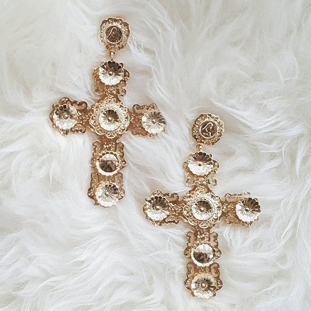 baroque cross earrings #styleaddict