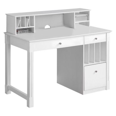 Deluxe Solid Wood Desk with Hutch - White  http://www.target.com/p/deluxe-solid-wood-desk-with-hutch-white/-/A-12220616?selectedTab=item-shipping-link