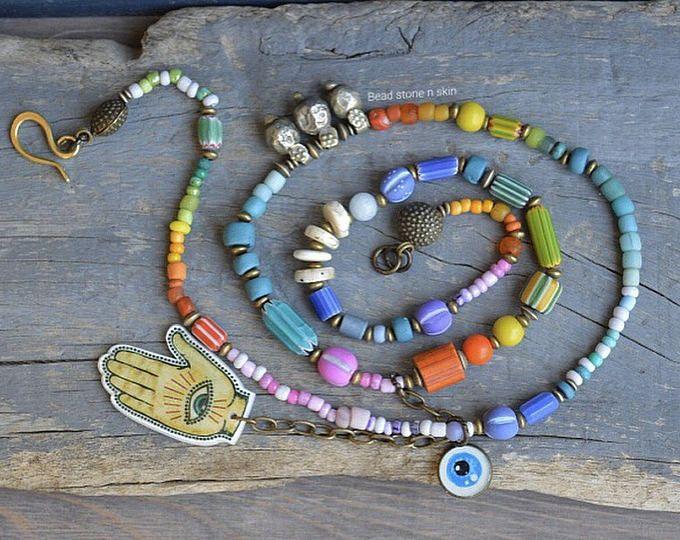 Gypsy, Hippie, Boho-Regenbogen-Halskette, Bohemian, lang, Perlen Halskette, Halskette Handel, bösen Blick