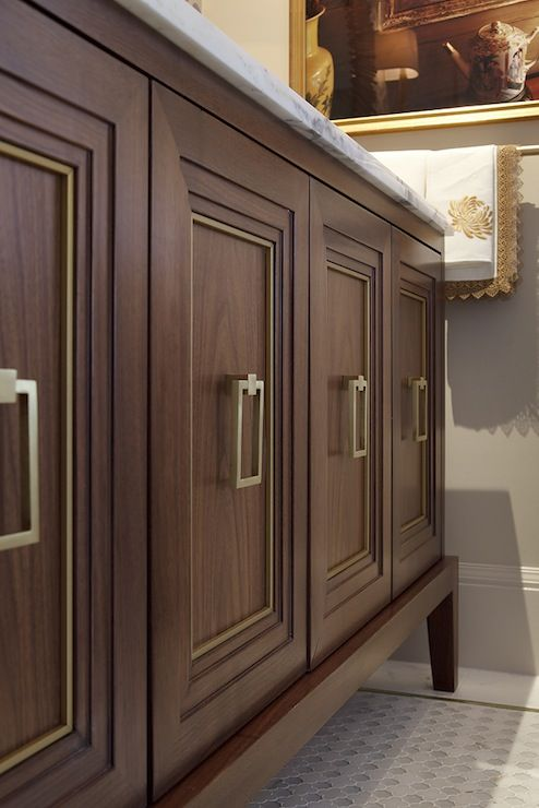 Artistic Designs for Living - bathrooms - brown, bathroom vanity, marble, top, brass pulls, brass cabinet pulls, brass cabinet hardware,  St...
