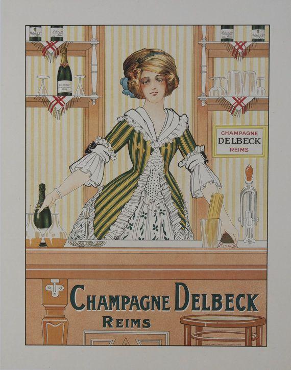 Champagne Delbeck Reims 1910 affiche originale par RueMarcellin
