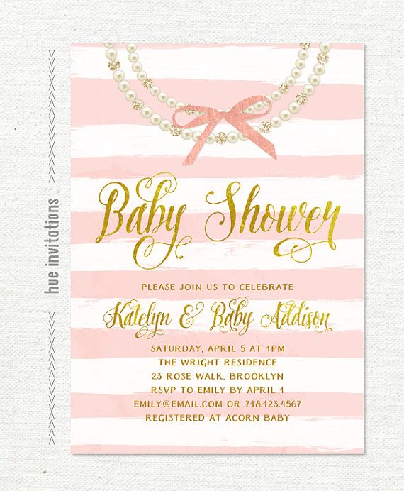 pink stripes and bow baby shower invitation, glitter diamonds pearl necklace girl baby shower invite, faux gold foil digital invite 299