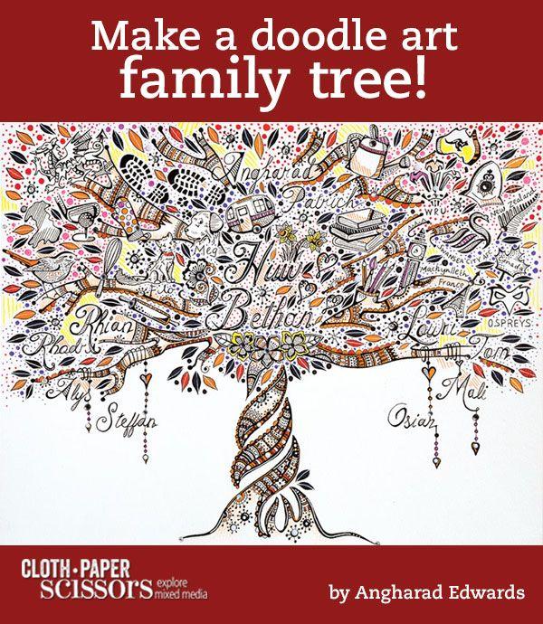 Family Tree Doodle Art   From Zen Doodle Workshop - Cloth Paper Scissors #doodles #FamilyTree