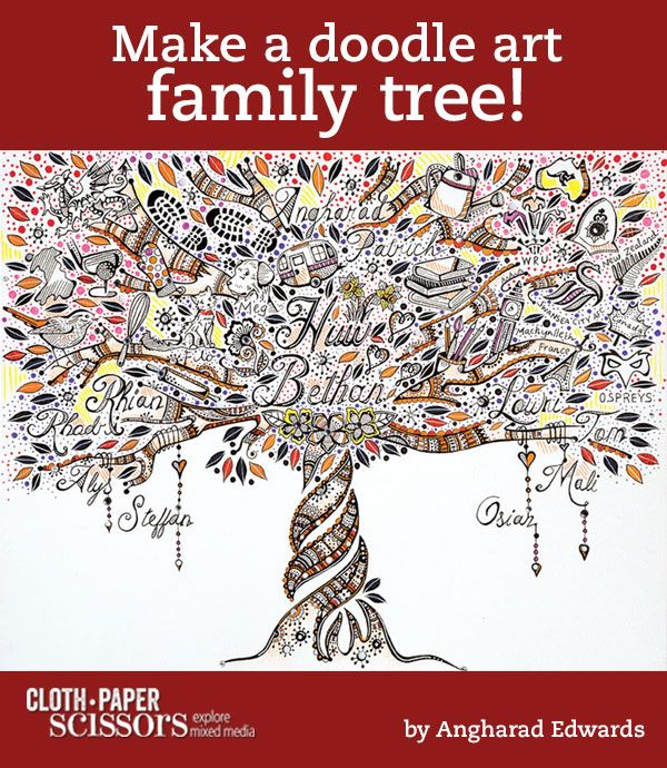 Family Tree Doodle Art | From Zen Doodle Workshop - Cloth Paper Scissors #doodles #FamilyTree