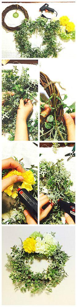 造花(アートフラワー)とダイソーグッズでフラワーリースを手作りする3ステップ #howto #handmade #ハンドメイド #flower #wedding