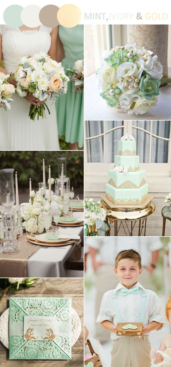 mint,ivory and gold country wedding color palette ideas