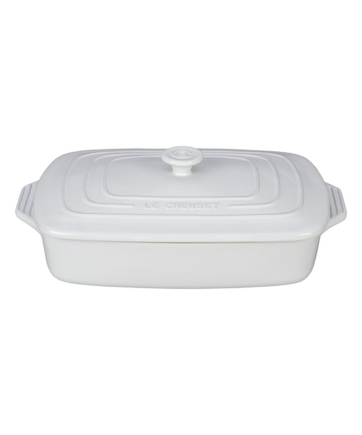 White Covered 3.5-Qt. Rectangular Casserole Dish by Le Creuset #zulily #zulilyfinds
