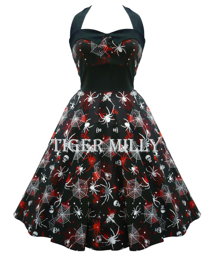 Hell Bunny 50's Spider Seth Dress Black