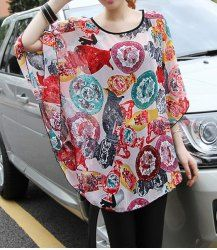 $9.59 Elegant Women's Scoop Neck Dolman Sleeve Printed Chiffon Blouse