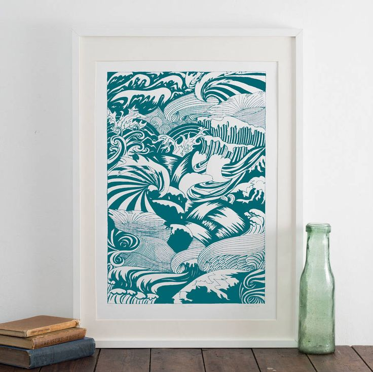 Byrons sea screen print by kaylene alder illustration notonthehighstreet com