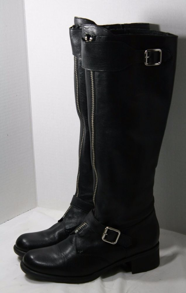 ANTHROPOLOGIE RIDING BOOTS BLACK LEATHER FRONT ZIPPER KNEE HI MOTO LUCKY PENNY 8 #LUCKYPENNY #RidingEquestrian #Casual