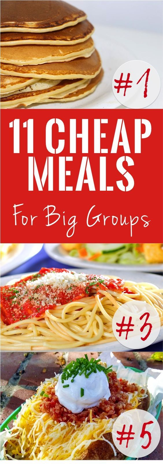 11 Cheap Meals for Big Groups   We all know that a big part of feeding a large group on a budget is serving budget-friendly food; so, below are 11 ideas for cheap meals to feed a large group. If you have a menu to plan for a lot of people, definitely also check out our post How to Feed a Large Group on a Budget. That post will give you tips on ways to cut costs when feeding the masses.   Cheap dinner, lunch, breakfast ideas   Food for a lot of people