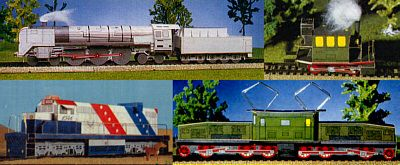 """Locomotives in the world """"Four of the strongest, fastest and most original locomotives in the world! Attention: For the"""" glass box """"of the Royal Bavarian State Railways you still need two short pieces of wire.""""        5 parts"""
