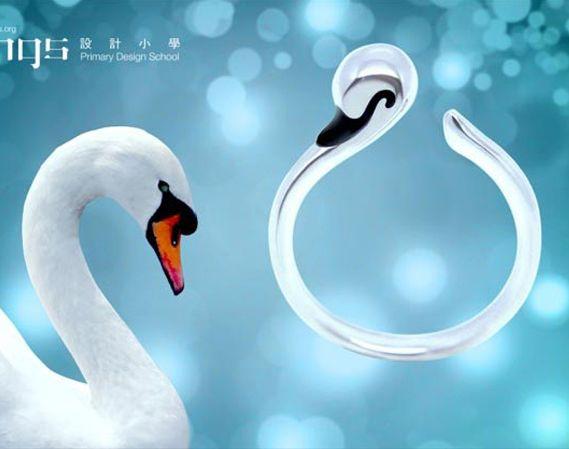 Gift idea - Silver Ring, Fun,  925 Silver, enamel, Swan Ring ! http://www.lastyleloft.com/online/shop-by-designer/angs/