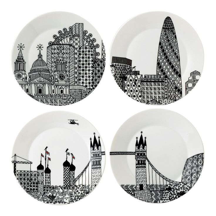Set the table in style with this set of four London Calling plates from Royal Doulton. Designed by Charlene Mullen, they depict London's most famous landmarks including the London Eye, Gherkin, Towe