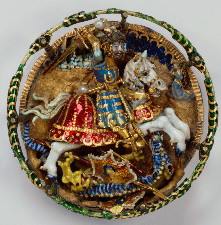 Hat badge with St. George and the dragon, Flemish , c. 1520. Royal Collection © Her Majesty Queen Elizabeth IISt George, 1520 The Royal, Dragons 1520, Hats Badges, Jewelry, Collection Trust, Royal Collection, C 1520, Flemish