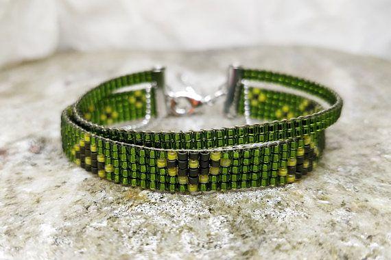 Green wrap loomed bracelet/ Loom beaded jewelry/ Woven