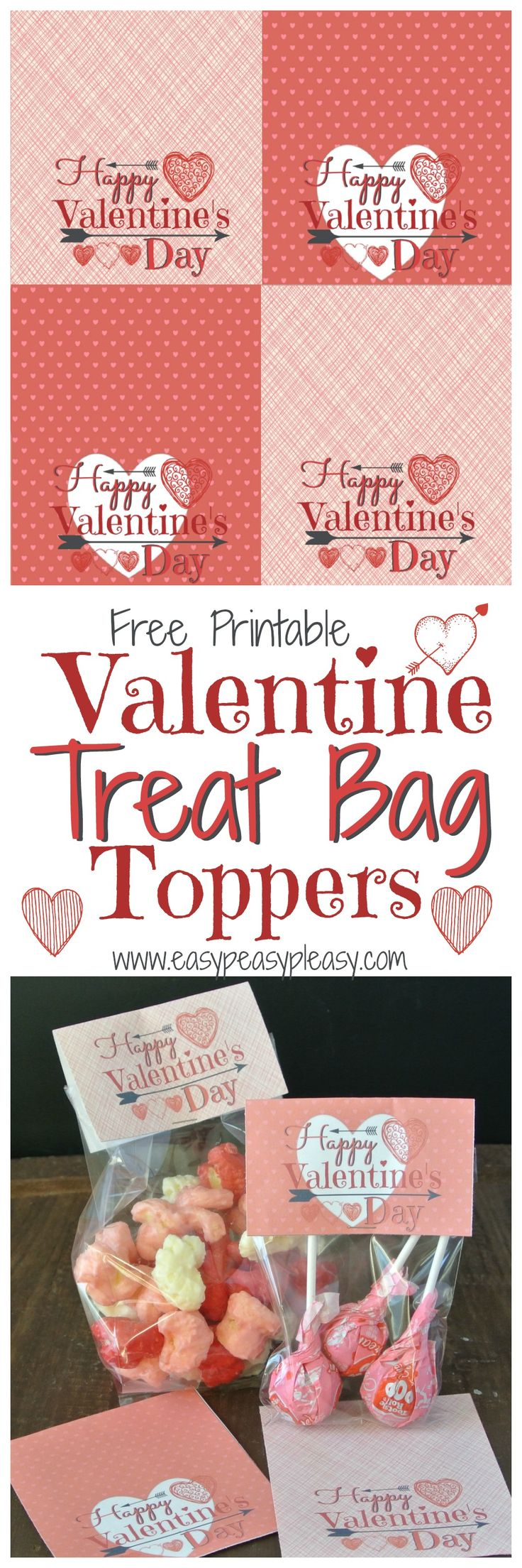 Free Printable Valentine Treat Bag Toppers! Perfect for classrooms parties!