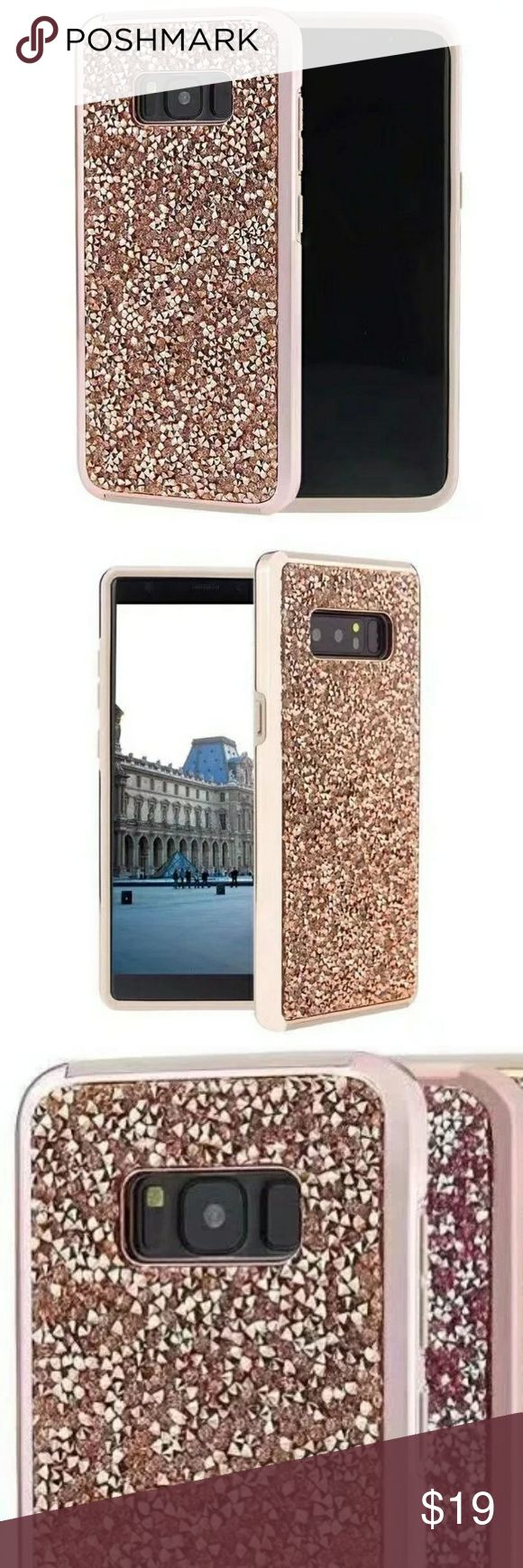 Galaxy S8/S8+/Note 8 Case -3 colors choice Rose Gold, Light Purple or Silver Protective Defender TPU(thermoplastic polyurethane) double layer phone case with chrome edge.  A 2.9mm lip all around the camera  provides perfect protection.  Bling/Rhinestone /Luxury/Crystal/Full Diamond/Jewelled/Apple/cell phone/smartphone/Samsung Galaxy S8/S8 Plus/Note 8 Accessories Phone Cases