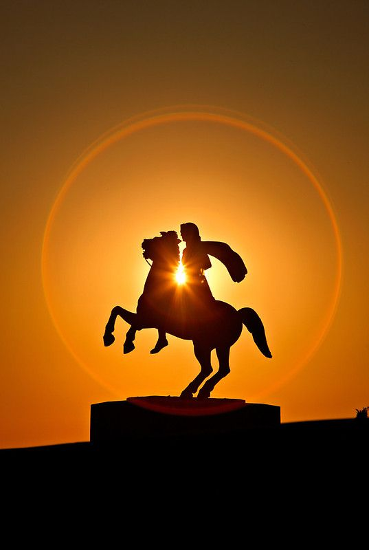 Alexander the Great in a Circle of Fire – #Thessaloniki . #AlexanderTheGreat #statue #Macedonia #Greece #military genius - #beautiful #sun  #photography #photooftheday #photographer Hercules Milas