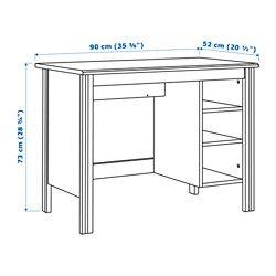 IKEA - BRUSALI, Scrivania, bianco, , Raggruppa cavi e prolunghe sul ripiano sotto il piano tavolo, per tenerli a portata di mano ma non in vista.Puoi inserire un computer nel mobile, poiché i ripiani sono regolabili.