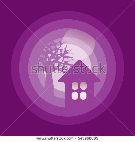 house, tree and moon - idealistic and dreamy illustration