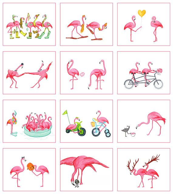 ON SALE Pink Flamingo 2015 Calendar in English by AmelieLegault