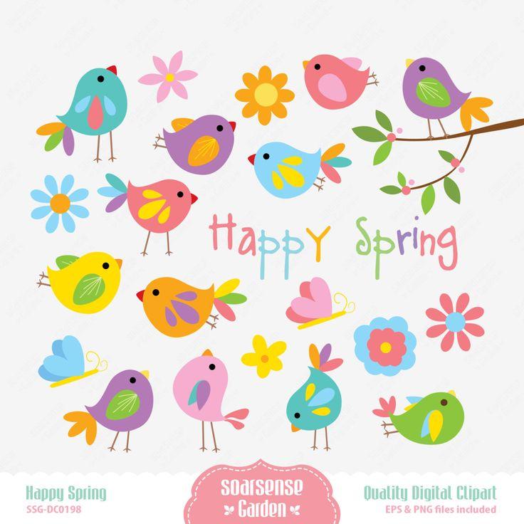 Happy Spring Digital Clipart por SSGARDEN en Etsy