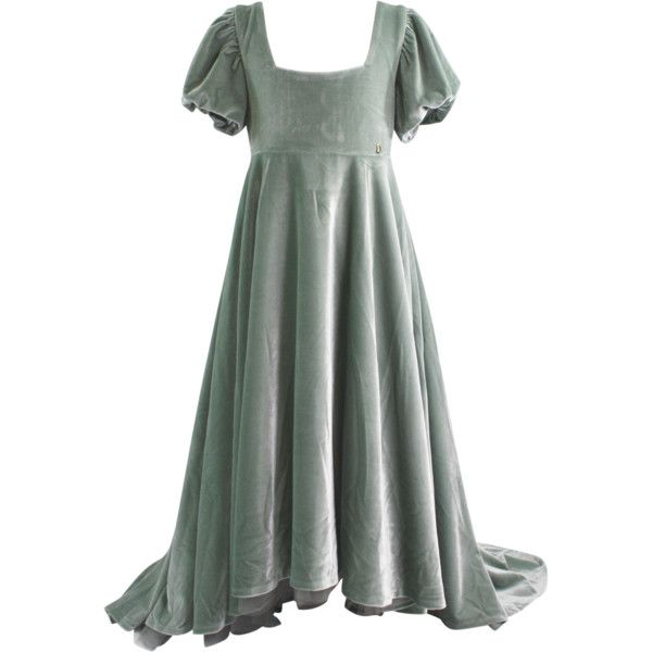 DOLLY by Le Petit Tom VELVET EMPRESS DRESS silvery green Sample) ($165) ❤ liked on Polyvore featuring dresses, gowns, long cocktail dresses, sparkly prom dresses, green velvet cocktail dress, green party dress and long party dresses