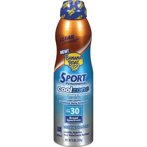BANANA BOAT SUNSCREEN SPRAY SPORT PERFORMANCE COOLZONE 6 OZ by BANANA BOAT At The Neighborhood Corner Store. $13.49. SPF 30 broad spectrum. long lasting continuous spray sunscreen. instantly cools and refreshens. clear ultramist. refreshing clean scent. BANANA BOAT SUNSCREEN SPRAY SPORT PERFORMANCE COOLZONE 6 OZ