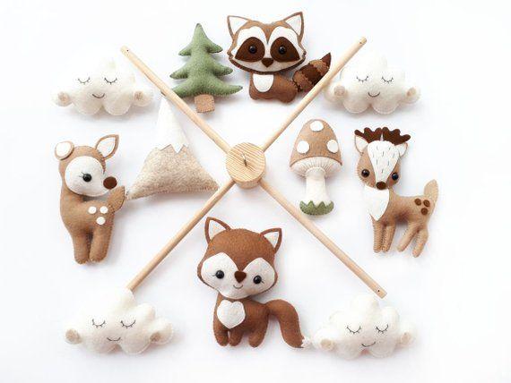 """Babymobile """"Waldtiere"""". Babymobile, Baby-Dusche-Geschenk, neue Baby-Geschenk, Filz-Tiere-Spielzeug, Baby mobile Wald, Wald-mobile"""