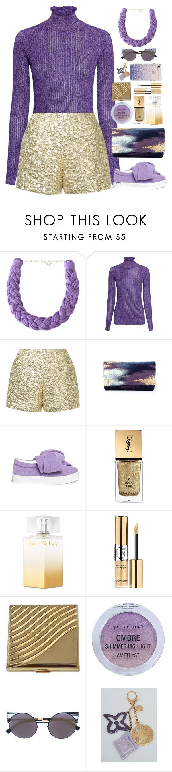"""""""Purple and Gold"""" by gicreazioni ❤ liked on Polyvore featuring Carven, Bambah, Joshua's, Yves Saint Laurent, Trish McEvoy, Estée Lauder, City Color, Mykita, Louis Vuitton and Rebecca Minkoff"""