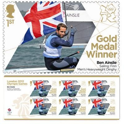 Gold Medal Winner stamp - Ben Ainslie, Sailing: Finn, Men's Heavyweight Dinghy