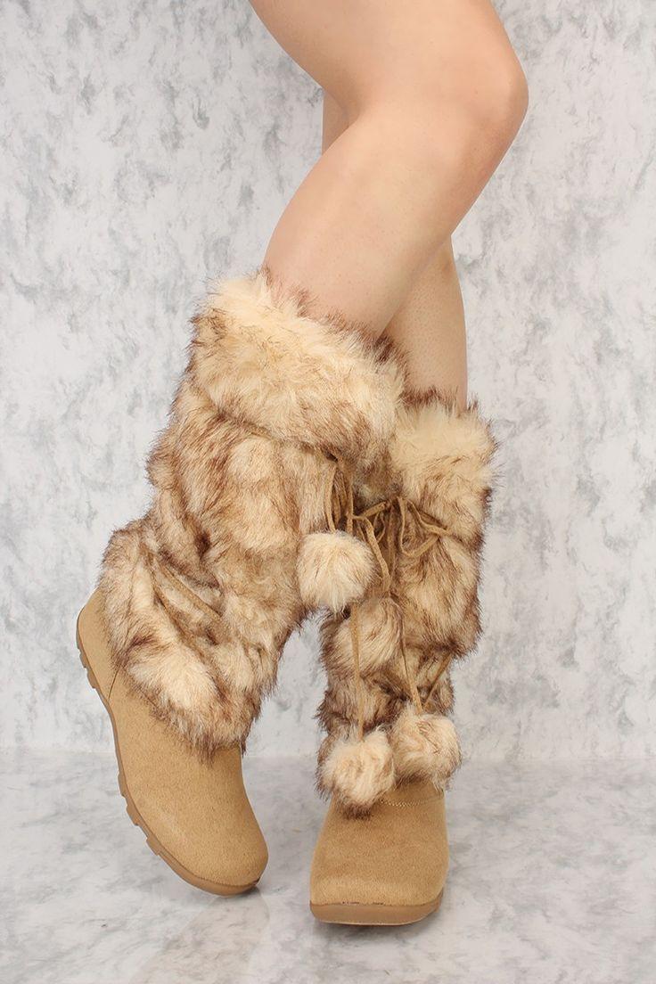 Camel Strap Wrap Around Snow Boots Faux Fur Suede