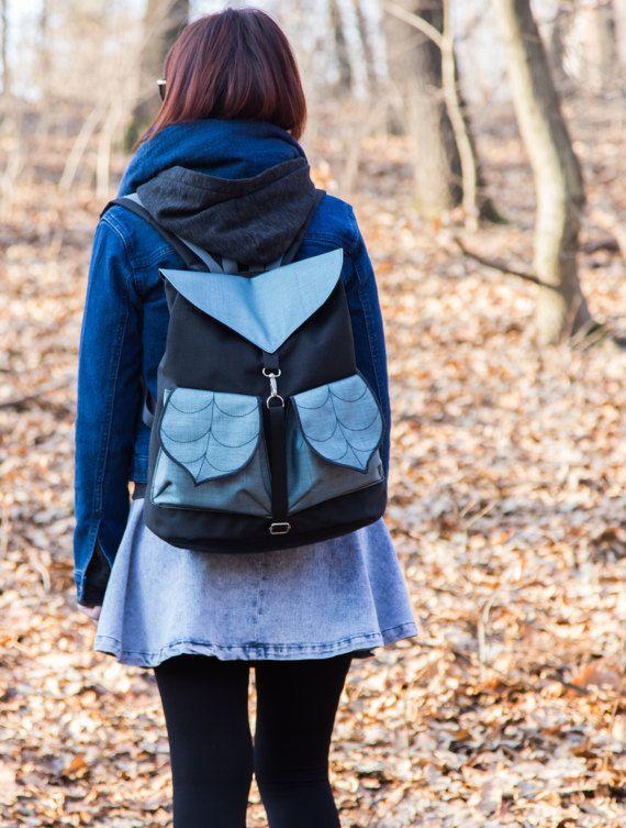 Black Silver Leaf Bohemian Backpack  Women's by LeaflingBags