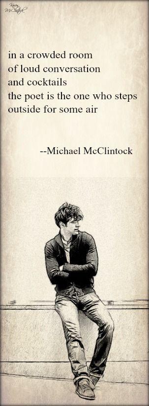 Tanka poem: in a crowded room -- by Michael McClintock.